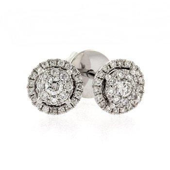 Round halo diamond cluster earrings