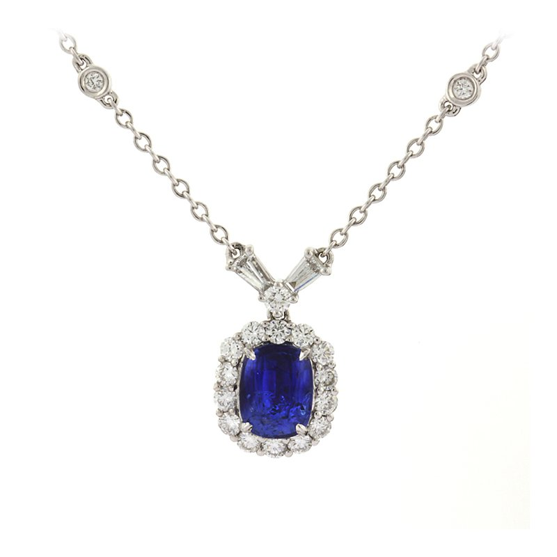 Roman+Jules Blue Sapphire and Diamond necklace