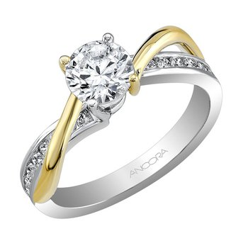 Contoured Diamond Engagement Ring
