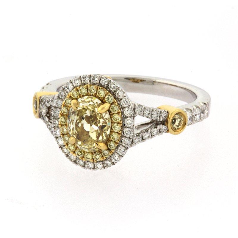 Roman+Jules Fancy yellow oval diamond ring