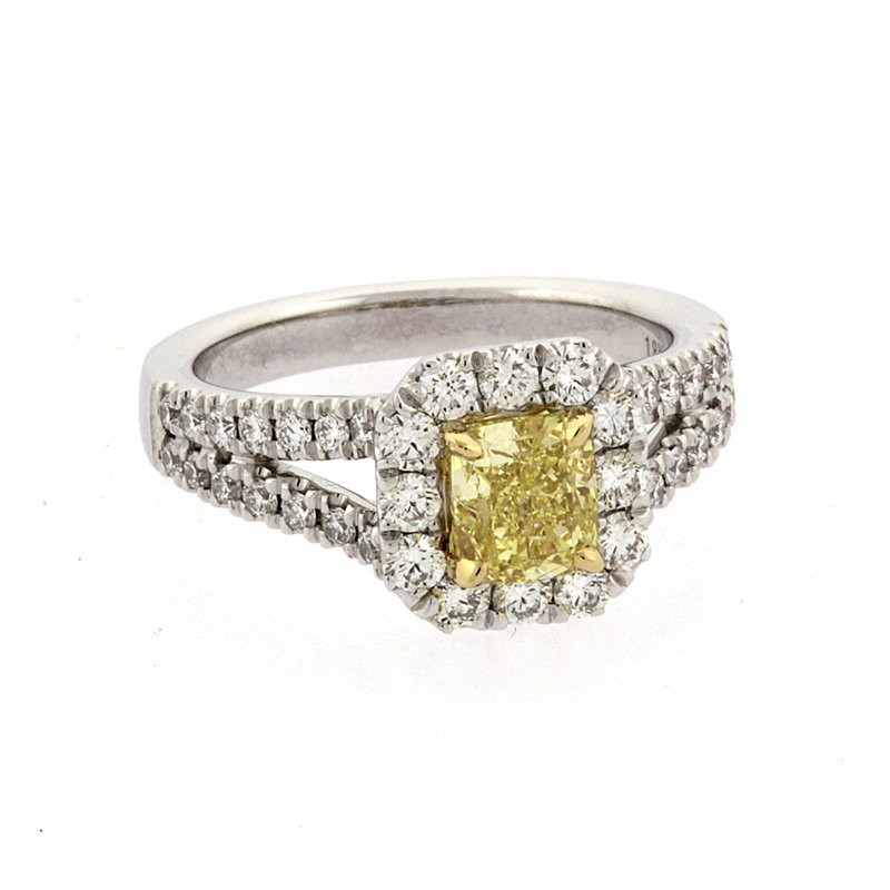 Roman+Jules Fancy yellow diamond halo ring