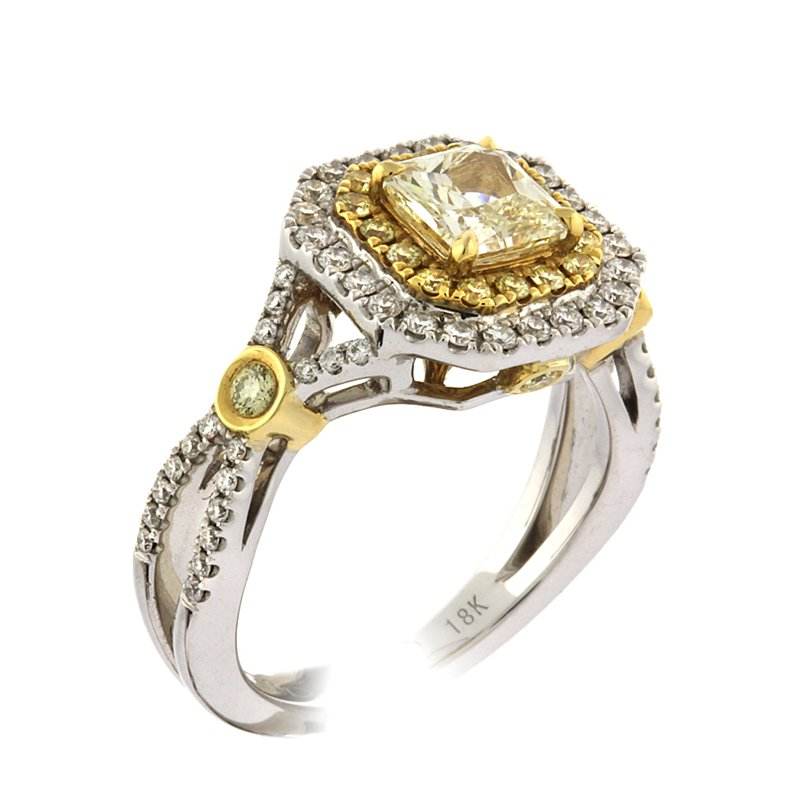 Roman+Jules Fancy yellow radiant diamond ring
