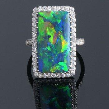 Baguette shape opal fashion ring