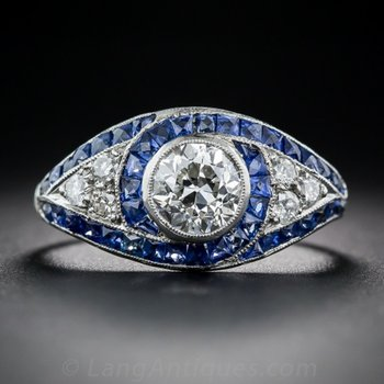Art-deco engagement ring with diamonds and sapphires
