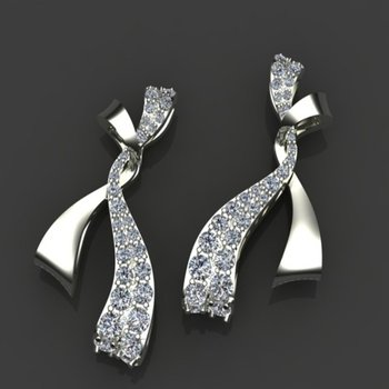 Bow style diamond earrings