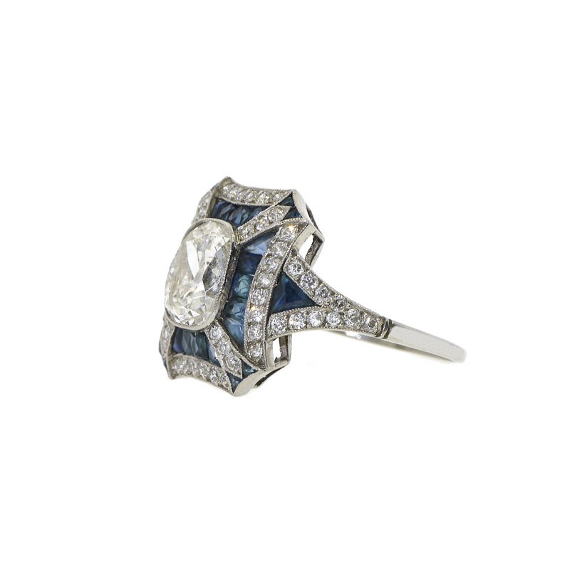 Antony Jewelers Antique engagement ring with diamonds and sapphires