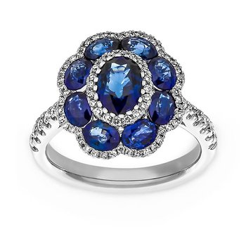 Diana style fashion ring with sapphires