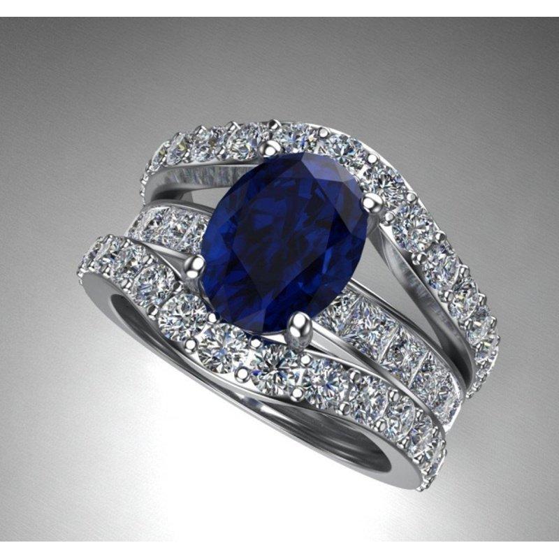 Antony Jewelers Unique blue sapphire diamond ring