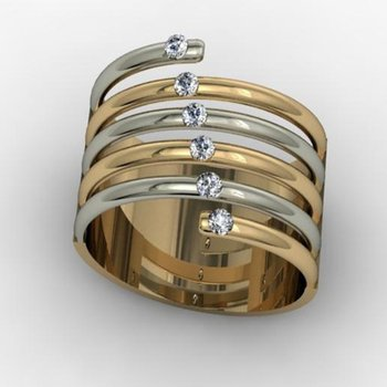 White and yellow gold mixed diamonds fashion ring
