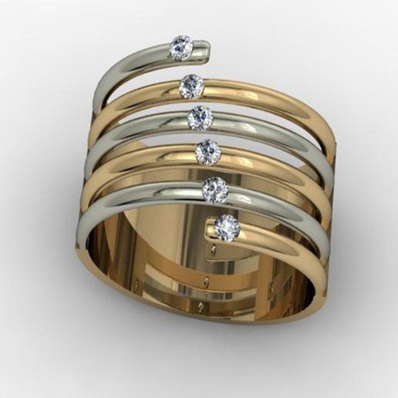 Antony Jewelers White and yellow gold mixed diamonds fashion ring