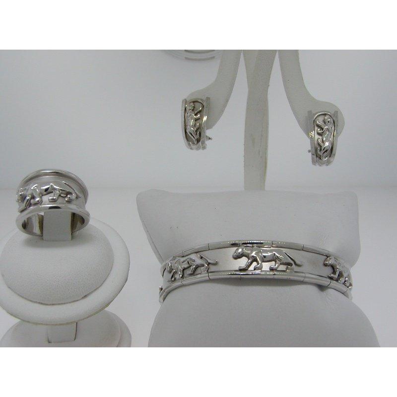Antony Jewelers Pantera style set:ring,eaarings,bangle