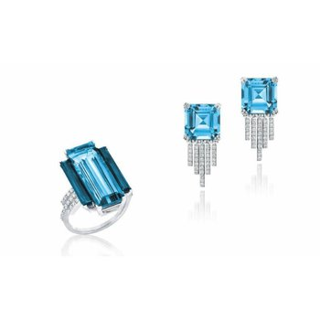 Fashion set: ring and earrings with sky blue topazes
