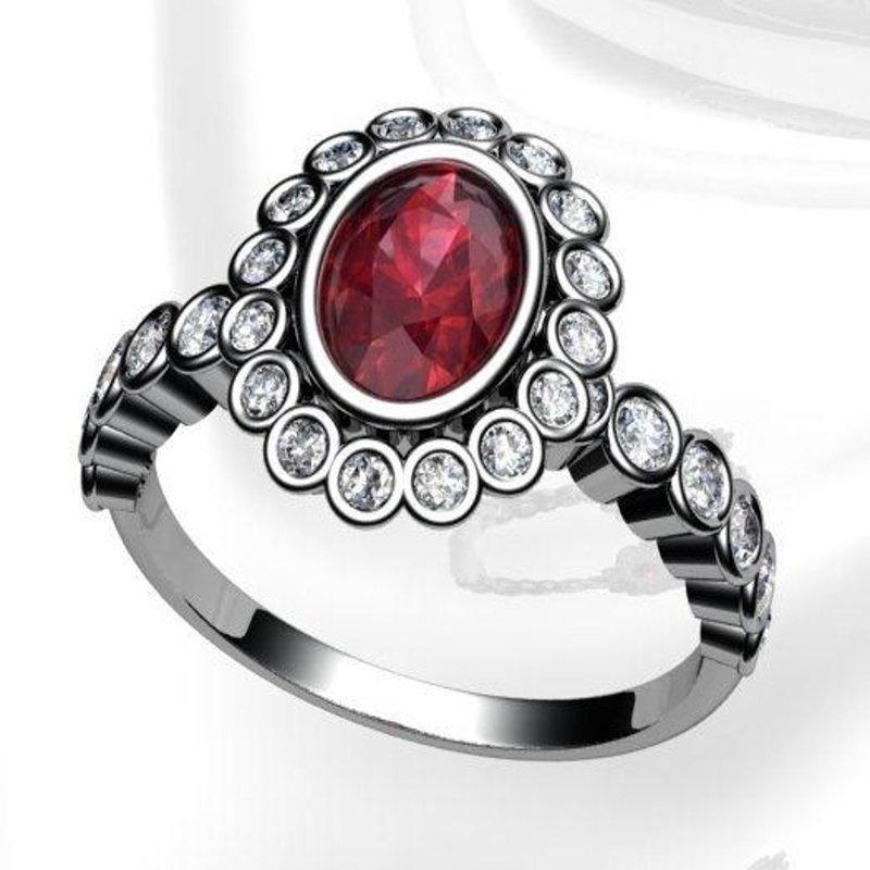 Antony Jewelers Unique Diana style ring with ruby