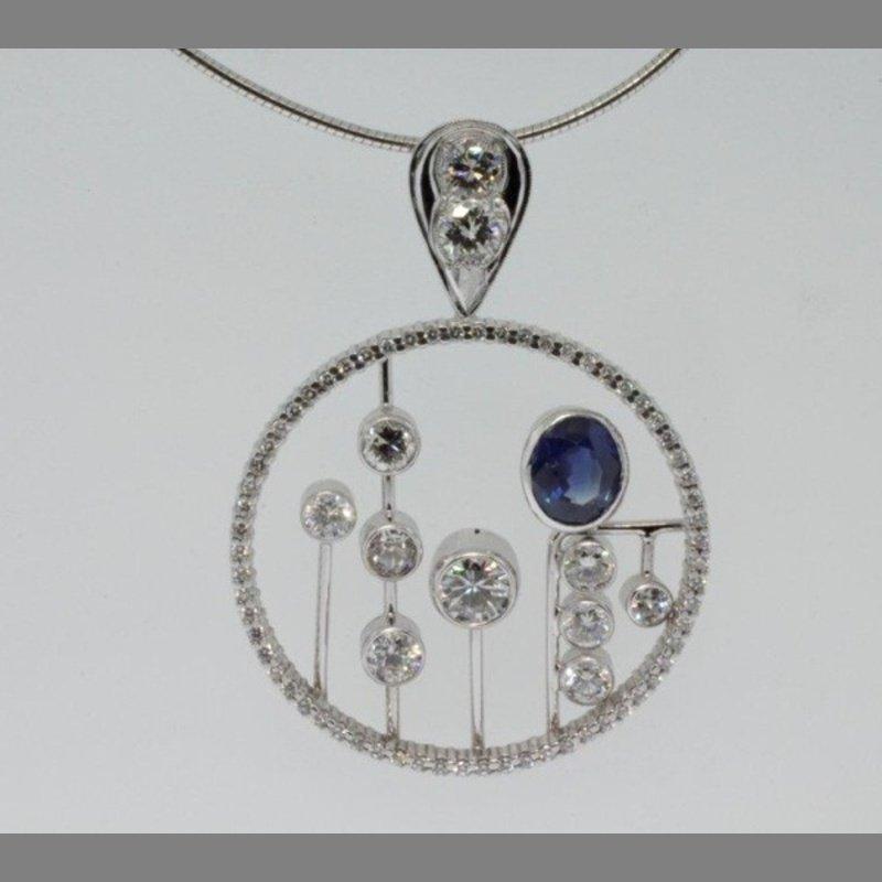 Antony Jewelers Necklace with round diamonds and sapphire