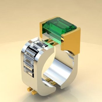 Geometrical design fashion ring with Columbian emerald