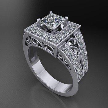 Diamond halo engagement ring with princess  cut diamond centered