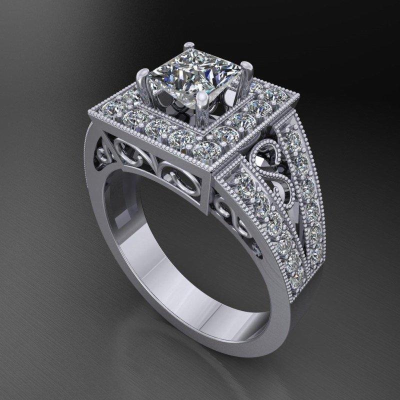 Antony Jewelers Diamond halo engagement ring with princess  cut diamond centered