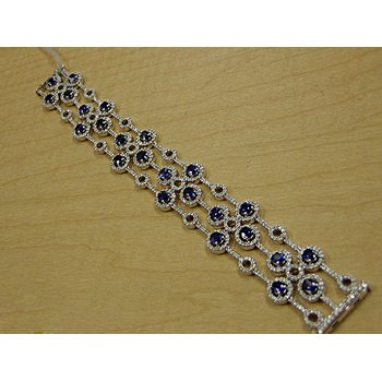 "Stunig Diamond and Sapphires Visible ""Florals"" Bracelet"