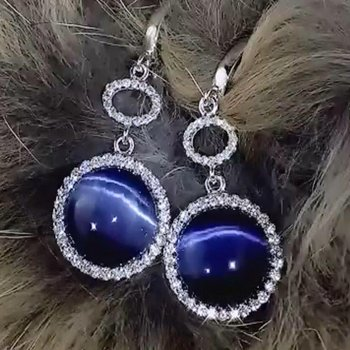 Blue cabachon diamond earrings