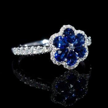 """Designer """"Sapphire Flower"""" fashion ring"""