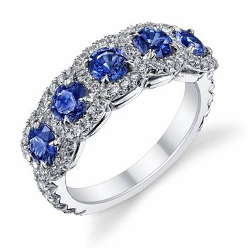 Sapphire and diamonds fashion ring
