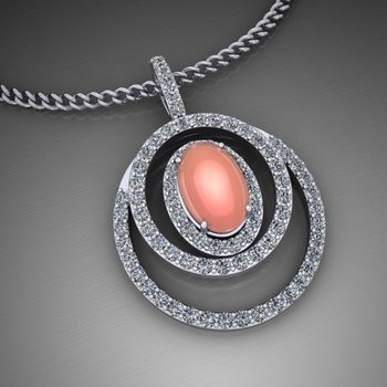 Unique pendant with orange coral stone