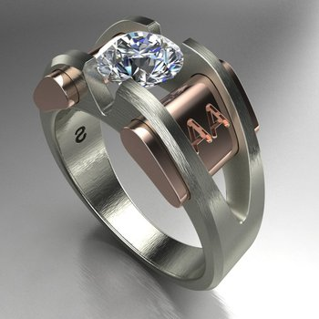 Two tone men's ring with diamond