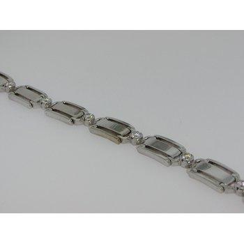 Rectangular Gold and Round Diamonds Bracelet
