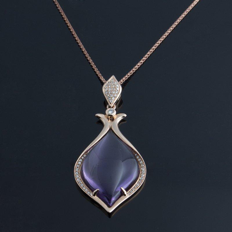 Antony Jewelers Rose gold pendant with chalcedony stone