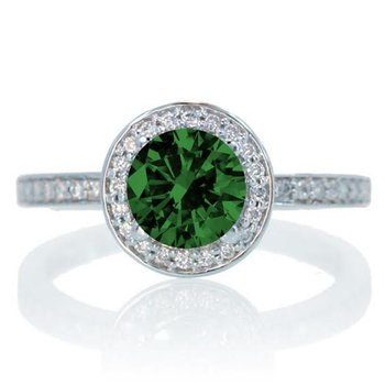 Emerald diamond ring set