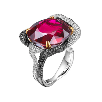 Black & white diamond ruby fashion ring