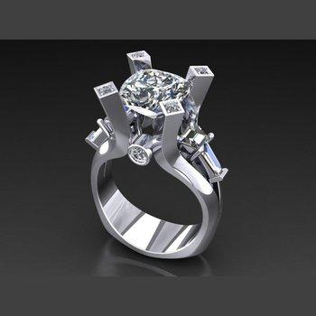 European shank diamond engagement ring with round diamond centered