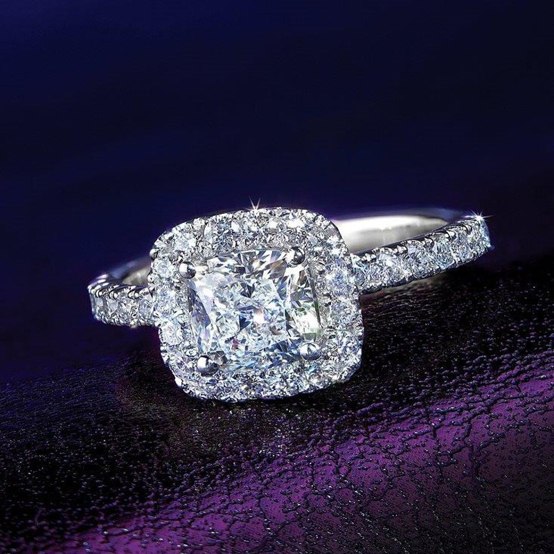Antony Jewelers Cushion cut  diamond engagement ring