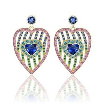 Heart shape sapphires earrings