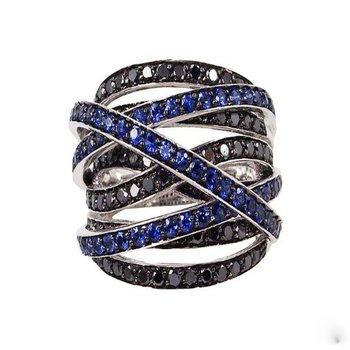Stunning black diamonds and sapphires white god fashion band