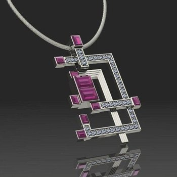 Modern geometrical ruby pendant
