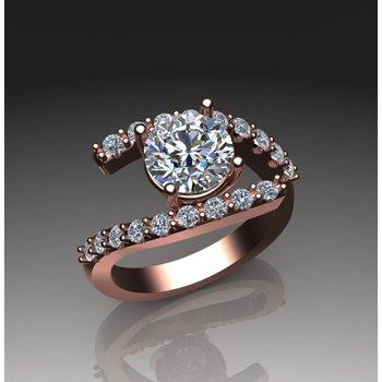 Swirl rose gold diamond engagement ring