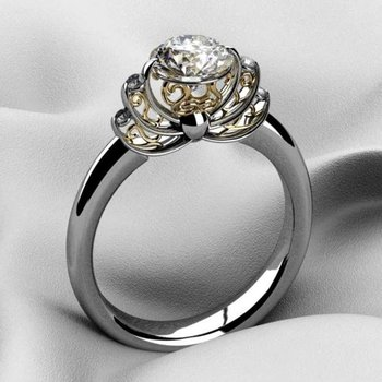 Artistic two tone diamond engagement ring