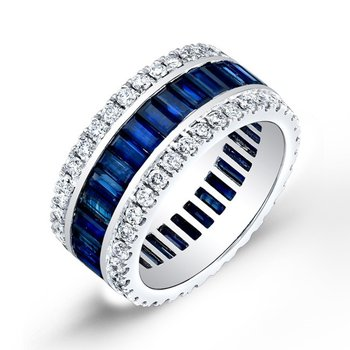 Unique eternity band with diamonds and sapphires