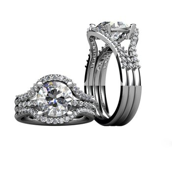 Double shank engagement ring with diamonds and 1 round diamond centered