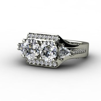 """Trendy style """"2 stones"""" engagement ring"""