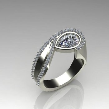 Contemporary design diamond engagement ring