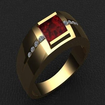 Men's ring with pigeon blood ruby