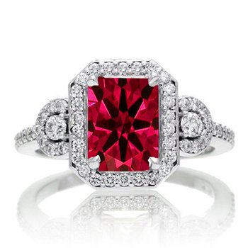 Flawless engagement ring with 3 carat ruby stone