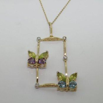 Butterfly pendant with multicolor stones