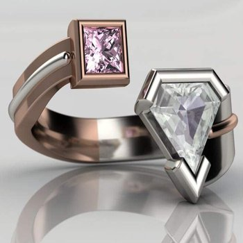 Double ring with diamond and pink diamond