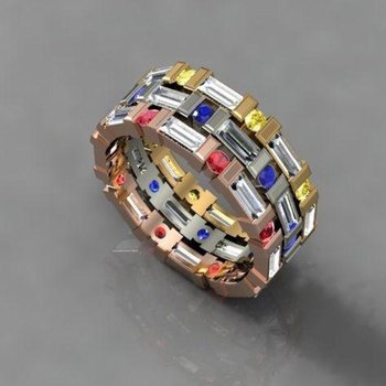 Band with multicolor sapphires