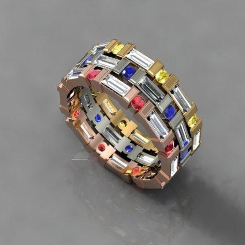 Antony Jewelers Band with multicolor sapphires
