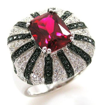 Black and white fashion ring with ruby stone