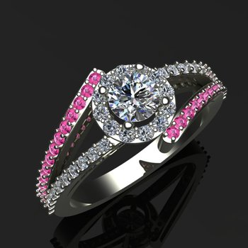 Engagement ring with diamonds and pink sapphires